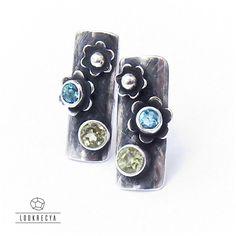 nie zapomnij o mnie... srebrne kolczyki z oliwinem i topazem / lookrecya / Biżuteria / Kolczyki