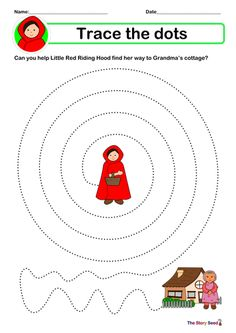 A set of sheets which you can laminate - for children to trace over the dots to develop fine motor skills. Hope you find it useful :) For updates for my ne. Small Group Activities, Motor Skills Activities, Preschool Activities, Traditional Tales, Traditional Stories, Little Red Ridding Hood, Red Riding Hood, School Reception, Preschool Puzzles
