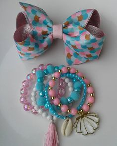 Little Girl Jewelry, Baby Jewelry, Kids Jewelry, Handmade Jewelry, Jewelry Making, Hair Ribbons, Diy Hair Bows, Diy Bow, Ribbon Bows