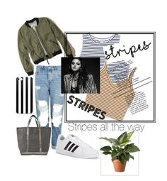 """""""Stripes"""" by sallozsofi on Polyvore featuring Hollister Co., Monki, Topshop, Vanessa Bruno and adidas"""