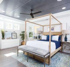 Rustic bedroom beadboard ceiling idea | Crescent Homes