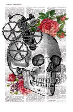 Artistic Anatomical Illustrations on White Dictionary Paper Spanish shop PRRINT (previously featured here) composes vintage prints with a contemporary sensibility on dictionary book pages. By infusing. Frida Art, Book Page Art, Skeleton Art, Skulls And Roses, Vintage Art Prints, Human Skull, Anatomy Art, Skull Art, Dark Art