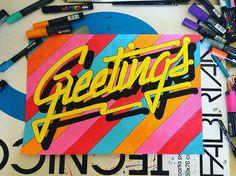 G R E E T I N G S  #illustration #drawing #lettering #colors #80s #fashion #neon #lights #pastel #posca #uniposca #パステル #ネオンライト #レタリング #fabriano #ポスカ #ファッション #minimal #alessiovitelli #2017