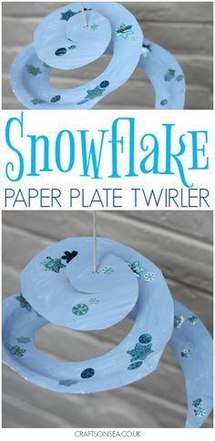 This snowflake paper plate twirler is a perfect winter craft for kids - great for encouraging scissor skills and fine motor skills plus loads of fun! #wintercrafts #kidscrafts #eyfs #craftsonsea