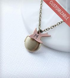 Monogram Bird Locket Necklace by Vivarevival on Scoutmob Shoppe