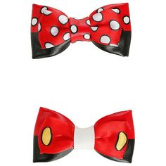 Disney Mickey Minnie Cosplay Hair Bow Set Hot Topic (26 SAR) ❤ liked on Polyvore featuring accessories, hair accessories, disney, disney hair bows, polka dot hair bow, disney hair accessories and hair bows