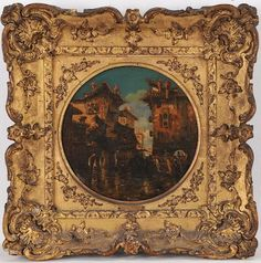 """Ornate Gilt Spandrel Frame (w/""""Murano, the ancient Port of Venice by Harry Wilson"""