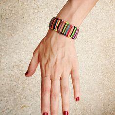 Handwoven Multicolored Macrame Bracelet by EugeniaKarlou on Etsy