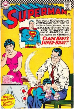Superman JLA, Justice League comic, Curt Swan art book, Silver Age, Man Spank the Brat of Steel Dc Comic Books, Comic Book Covers, Comic Book Characters, Old Comics, Vintage Comics, Vintage Books, Marvel, Series Dc, Superman And Lois Lane