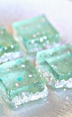 """""""Champagne Jello."""" Oh they're so pretty!! I could see a revised version being used for the 'winter wonderland gingerbread houses' actually..."""