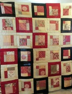 Disappearing 9 patch w/French General Chateau Rouge Charm Packs & framed with Kona Solids