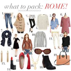 jillgg's good life (for less) | a style blog: what to pack: rome!  @M k Coletti @Rheann Earnest-Anne Power Parsons--I'm not going to Rome anytime soon that I know of, but, why not...