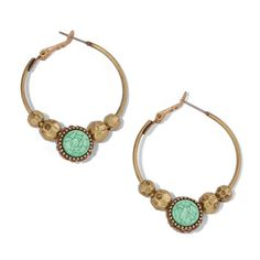The look of marbled stone takes the stage in these gorgeous earrings set in burnished brass with goldtone and turquoise colored beads. Regularly $16.99, buy Avon Jewelry online at http://eseagren.avonrepresentative.com