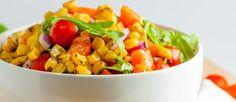 Glutenvrije geroosterde mais-rucola salade