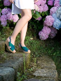 Summer evenings with these crossed straps wedge sandals handmade in silk by #GAIMO #SS15 Collection.