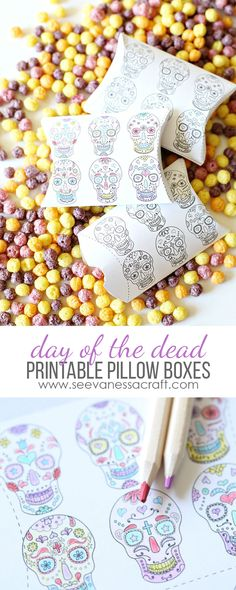 Print out these pillow boxes to color for DAY OF THE DEAD! Grab a box of Trix @Walmart to fill them with. #DiaDeMuertos #BigG #ad