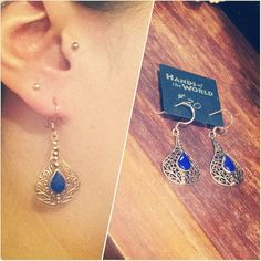 A pair of stunning lapis copper basket earrings ($30) from Thailand.