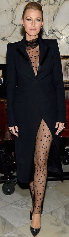 Who made  Blake Lively's black lace dress, crystal pumps, clutch handbag, and coat?