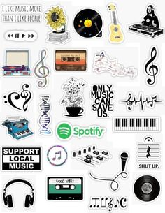 Music Stickers,Music sticker pack aesthetic for editing overlays hydroflask free printable stickers musical art singing guitar band orchestra piano records dj sheet ...