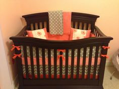 Replace the coral with teal. Coral and Gray 5 piece crib setbumper skirt by LavenderLinens, $390.00