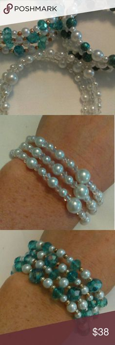 Handmade Memory Wire Bracelets-Set of Three Handmade memory wire bracelets, set of three. One is made with white glass pearls and clear bicone crystals. One is made of white glass pearls, turquoise crystals and gold accents. One is made of white glass pearls and turquoise glass beads. Jewelry Bracelets