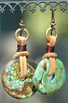 Leather and Chinese Turquoise Donut Earrings