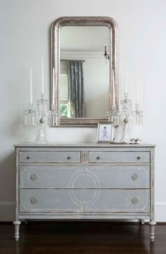 blue/grey dresser, mirror