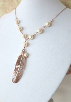 Rose Gold Feather Necklace - Swarovski pearl beaded, rose gold filled chain, gifts for her, garden, bird, everyday pretty, www.colormemissy.com, by ColorMeMissy