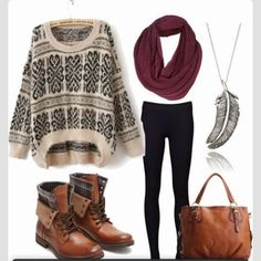 Scarfs, sweaters, and skinny jeans--perfect outfit for a chilly winter day.
