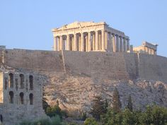 The Parthenon sets on top of the Acropolis in Athens, Greece.