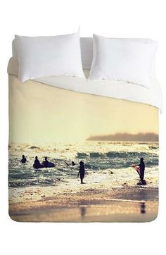 Bedtime in the summer! Love this 'Sunset Surfers' duvet cover and sham set.