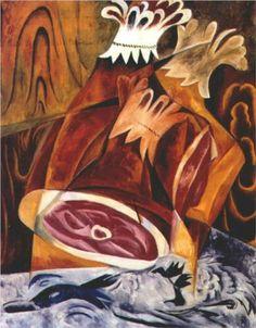 Still life with ham - Natalia Goncharova (Russian: 1881 - 1962)