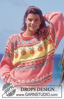 "DROPS jumper with pattern borders and apple pattern in ""Paris"". ~ DROPS Design"