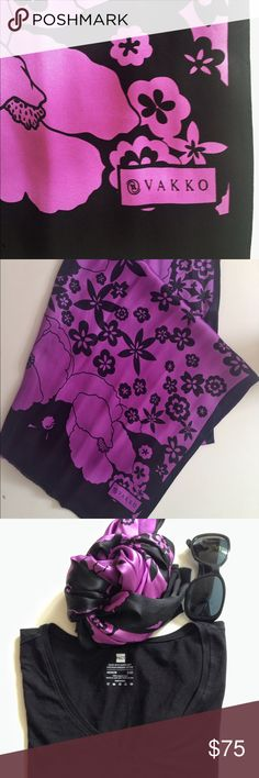 """SILK SCARF  VAKKO BRAND Silk Black / Purple Scarf Dimentions :65"""" x 25"""" only used few times. Great conditions. Very classy and chick. Vakko Accessories Scarves & Wraps"""