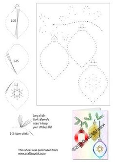 Baubles on Craftsuprint designed by Diana Hutchinson - A 5x7 inch stitch or prick pattern of baubles. - Now available for download!