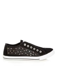 Black Gem Panel Laceless Trainers from New Look! Had these in Black now have them in Demin