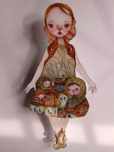 OOAK Original Hand Painted Paper Doll  by GentlyEthereal on Etsy