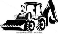 Black And White Backhoe Clipart - Gallery