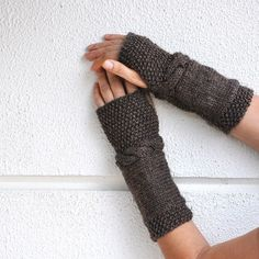 Hand Knit Brown Cable Fingerless Wool Gloves/ Armwarmers for $28.00 at etsy.com