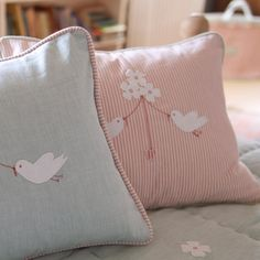 Bird Cushion - Pink Stripe/Bird & Flower | Susie Watson Designs
