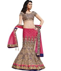 Jugniji Pink Embroidered Net Semi Stitched Lehenga
