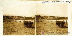 SAN SEBASTIAN - VISTA - AÑOS 1910-20 - CRISTAL POSITIVO (TAMAÑO GRANDE) (Fotografía Antigua - Estereoscópicas)
