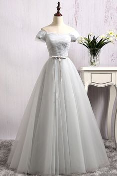 Simple gray tulle off shoulder long sweet 16 prom dress with sleeves #prom #dress #promdress #promdresses