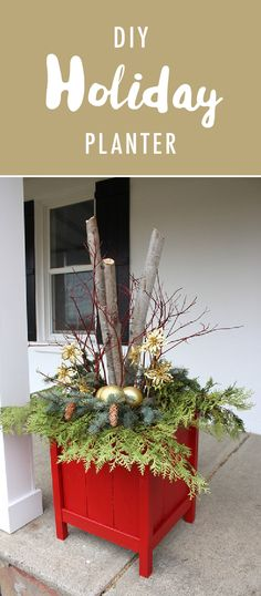 Let your holiday spirit shine from the inside of your home out by decorating your front porch for the season. These DIY Holiday Planters are made with the help of Red My Mind from @lifeatcloverhill  Simply fill the wooden planters with rustic evergreen sprigs, pinecones, branches, and some gold ornament bulbs for a festive touch!