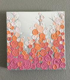 Rosa naranja Coral y gris texturado vivero por MurrayDesignShop