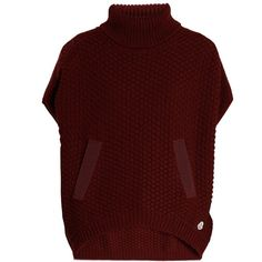 Moncler Roll-neck logo-appliqué wool poncho (8 675 SEK) ❤ liked on Polyvore featuring outerwear, burgundy, red poncho, long sleeve poncho, red slip, wool poncho and moncler