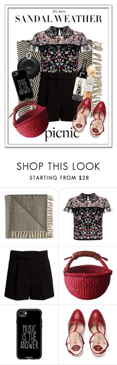 """""""Contest : Picnic in the park"""" by pecolinette ❤ liked on Polyvore featuring Amuse Society, Needle & Thread, Valentino, Casetify, Gucci, shorts, picnic, park and RedShoes"""