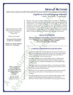 esl teacher resume sample page 1 - Elementary Teacher Resume Examples