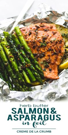 Healthy Herb Butter Salmon Asparagus Foil Packs | lecremedelacrumb.com #salmonrecipes #foilpackrecipes #easydinnerrecipes #asparagusrecipes #weeknightdinners