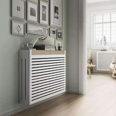 Modern Floating White Radiator Heater Cover NORDIC design with one or two wooden drawers 40 to / Radiator Heater Covers, Radiator Shelf, Old Radiators, Column Radiators, Modern Radiator Cover, Interior Styling, Interior Design, Wooden Drawers, Clever Design